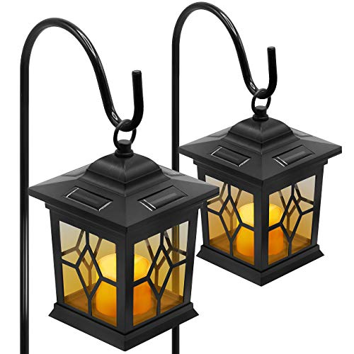 (Sorbus Solar Flickering Lantern Lights with Shepherd Hook Stakes, Stagecoach Decorative Candle Lantern for Landscape Light Security, Patio, Deck, Yard, Garden, Driveway, Pool Area, Set of 2)