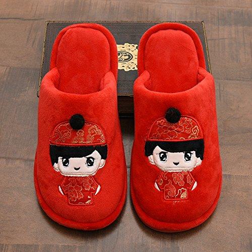 Y-Hui Zapatillas de boda, Parejas en interiores, la boda en interiores, Rojo pares de zapatillas de algodón, Invierno