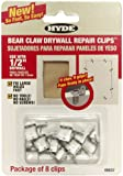 Hyde Tools 09037 Bear Claw Drywall Repair Clips, 1/2-Inch, 8-Pack