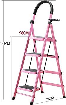 Escaleras Escalera plegable de acero resistente de 4 pasos con tapete antideslizante, taburete, escaleras de tijera for el hogar, escalera multiusos for jardín Loft: Amazon.es: Bricolaje y herramientas
