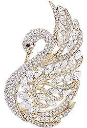 EVER FAITH® Elegant Swan Bird Clear Austrian Crystal Brooch Gold-Tone