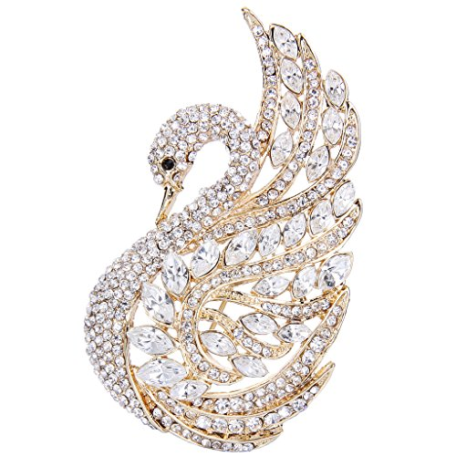 EVER FAITH Women's Austrian Crystal Elegant Swan Bird Bridal Brooch Pin Clear Gold-Tone