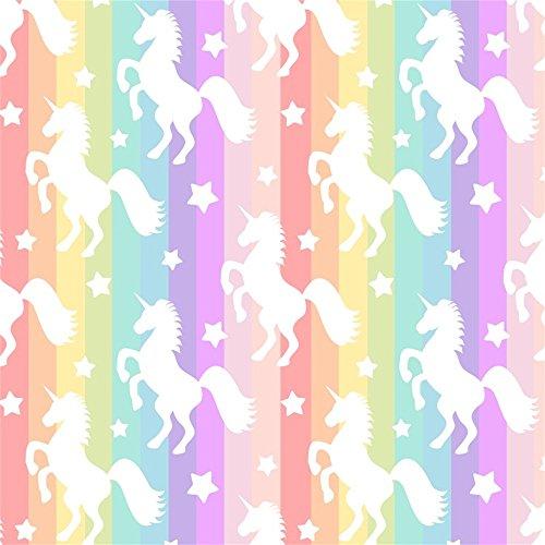 OFILA Unicorn Backdrop 5x5ft Rainbow Color Texture Unicorn Themed Baby Shower Girls Unicorn Birthday Party Children Room Wallpaper Cake Background Girls Tea Party Unicorn Events Video Props
