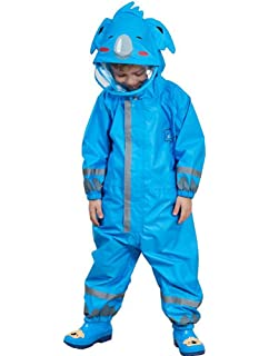 D C.Supernice Kids All in One Waterproof Suit Toddler Boys Girls One-Piece Puddle Rainsuit for Age 2-14