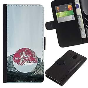 LECELL--Cuero de la tarjeta la carpeta del tirón Smartphone Slots Protección Holder For Samsung Galaxy Note 3 III -- Composición de la montaña --