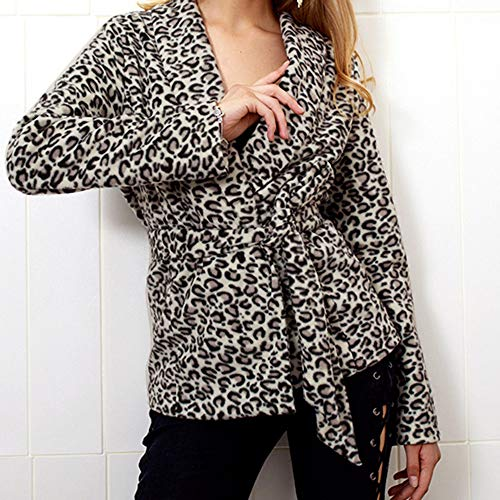 con Black quarti Jacket stampa sintetici Leopard per Vintage e Women Mujers Tre Fur A Coats Winter baveri Beladla YvqfaI