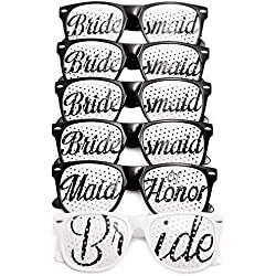 Bridal Bachelorette Party Favors - Wedding Kit - Bride & Bridesmaid Party Sunglasses - Set of 6 Pairs - Themed Novelty Glasses for Memorable Moments & Fun Photos (6pc Set, Black & White)