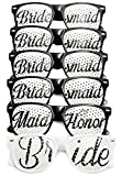 Bridal Bachelorette Party Favors - Wedding Kit - Bride & Bridesmaid Party Sunglasses - Set of 6 Pairs - Themed Novelty Glasses for Memorable Moments & Fun Photos (6pc Set, Black & White)