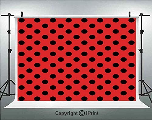 Red and Black Photography Backdrops Retro Vintage Pop Art Theme Old 60s 50s Rocker Inspired Bold Polka Dots Image,Birthday Party Background Customized Microfiber Photo Studio Props,8x8ft,Scarlet ()