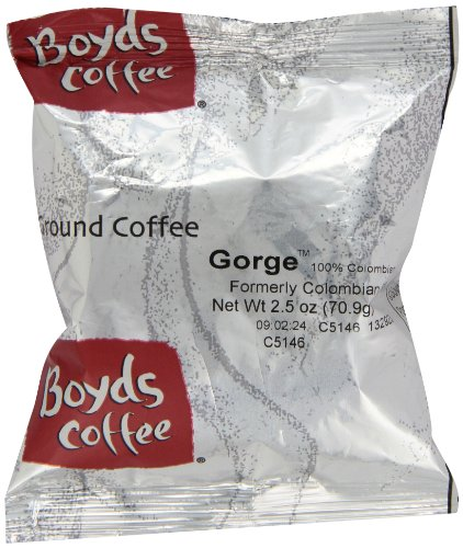Boyd's Coffee Gorge 100% ColombianP, Ground Medium Light Roast Coffee, 2.5-Ounce Portion Packs (Pack of 50) by Boyds Coffee