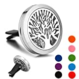 Aromatherapy Essential Oil Diffuser for Car Vent Clip Locket with Stainless Steel(30mm) - Tree of Life
