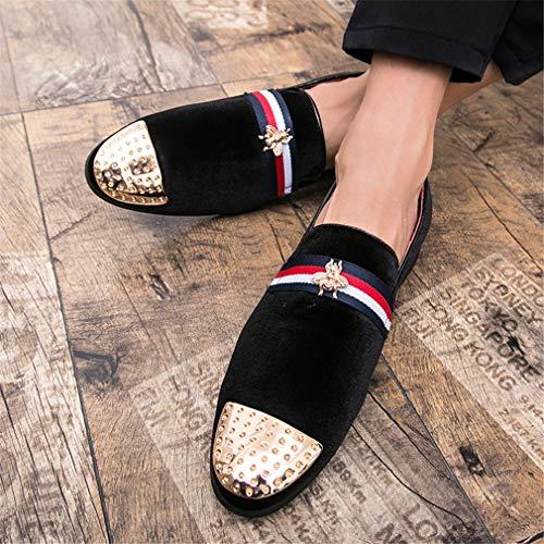 ons Yan primavera Hombre Tamaño Y Mocasines Slip Para Zapatos Cuero Británicos Negro Artificial 47 Rojo Negro Vestir rojo De Fiesta color Noche qw7r0xqf