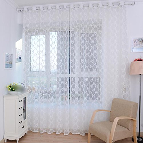 Lattice Tulle Door Window Curtain Drape Panel Sheer Scarf Valances White Tulle Vanity