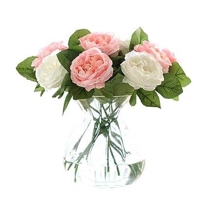Amazon Com Cqure Artificial Flowers Fake Flowers Silk 6 Heads Roses