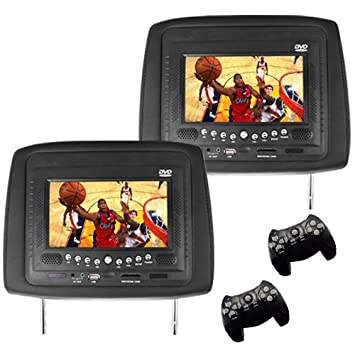 Appui-tête avec écran LCD 7 pouces lecteur DVD intégré + Emulateur