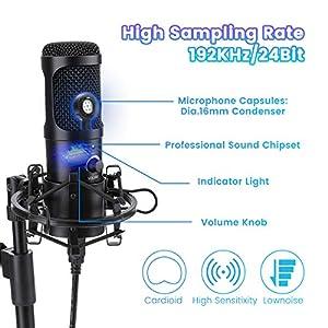 USB Podcast Microphone,NASUM 192KHZ/24BI...