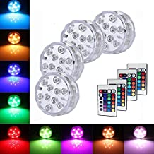 Pack of 4Pcs Submersible LED Lights RGB Multi Color Waterproof Remote Control Battery Powered Vase Lights for Fountain Pool Hot Tub Wedding Pond Decoration Centerpieces Vase Party