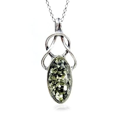 Green Amber Sterling Silver Drop Pendant Chain Rolo46cm f1ksC2wLH