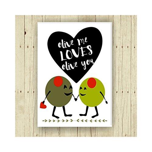 Olive Me Loves Olive You, Oversized Refrigerator Magnet, Puns, 2.5 x 3.5