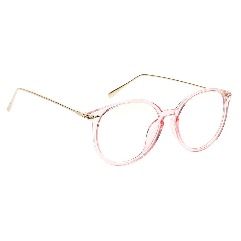Homyl Damen Durchsichtig klare Linse Klarglas Brille Metallrahmen Nerdbrille Brillenfassungen one size