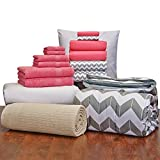 16 Piece Starter Pak Deep Pink Chevron Twin XL College Dorm Bedding and Bath Set