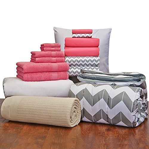 Girls 16 Piece Starter Pak Deep Pink Chevron Twin XL College Dorm Bedding and Bath Set