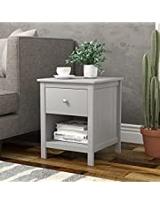"""Grey Finish Nightstand Side End Table with Drawer and Open Shelf 22"""" H by RAAMZO"""