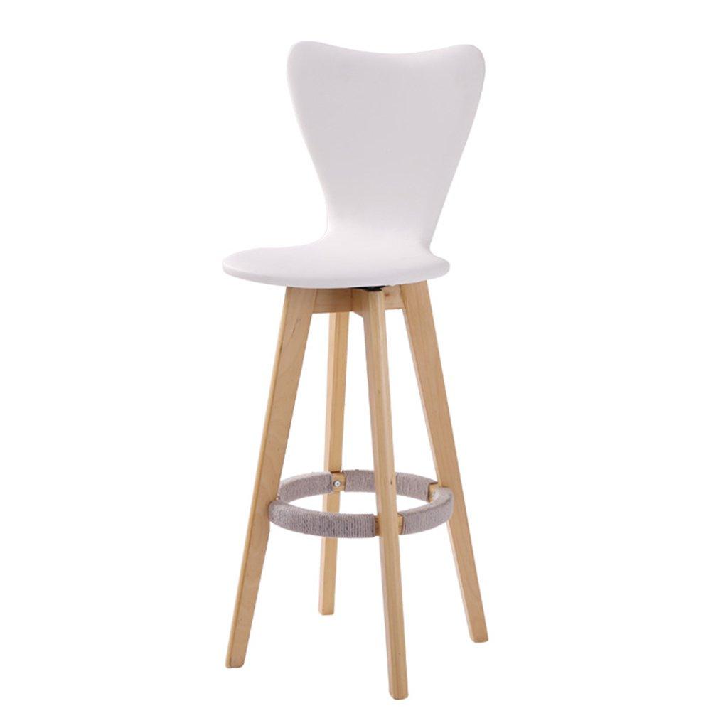 シュウクラブ@ シンプル、ソリッドウッド、回転可能レザークッションバークリエイティブハイチェアヨーロピアンスタイルの木製チェアヴィンテージバースツール高さ71cm (色 : 白) B07CTG38RR 白 白