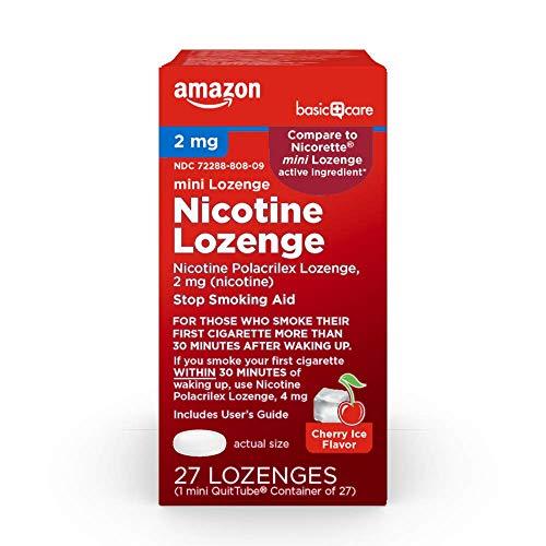 Amazon Basic Care Mini Nicotine Polacrilex Lozenge, 2 mg (nicotine), Stop Smoking Aid, Cherry Ice Flavor; quit smoking…
