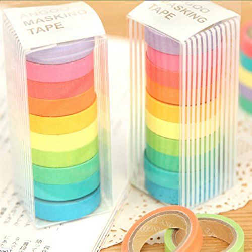 Voberry 10x Decorative Washi Rainbow Sticky Paper Masking Adhesive Tape Scrapbooking DIY by Voberry (Image #1)