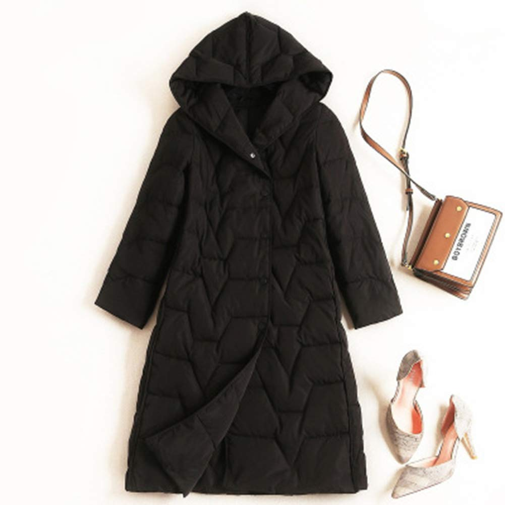 NNLX Puffer Jacke weiblich, Mode Kapuze Dicke weiße Entendaunen einfarbig Langen Mantel Outdoor Ski Travel