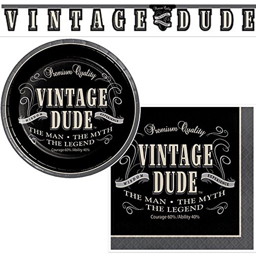 Olive Occasions Vintage Dude Party Supplies 16 Appetizer Dessert Plates, 16 Beverage Napkins, Decorative Banner and Recipe]()