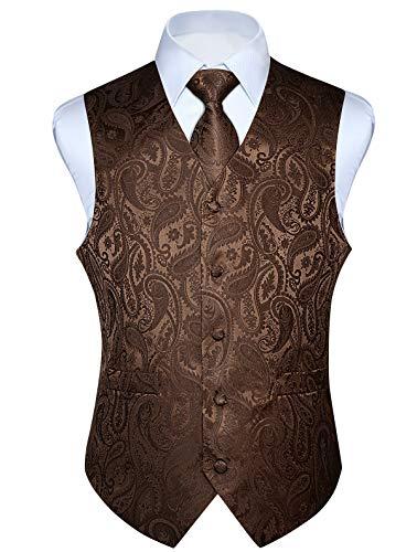 HISDERN Men's Paisley Jacquard Solid Waistcoat & Necktie and Pocket Square Vest Suit Tuxedo Set Brown