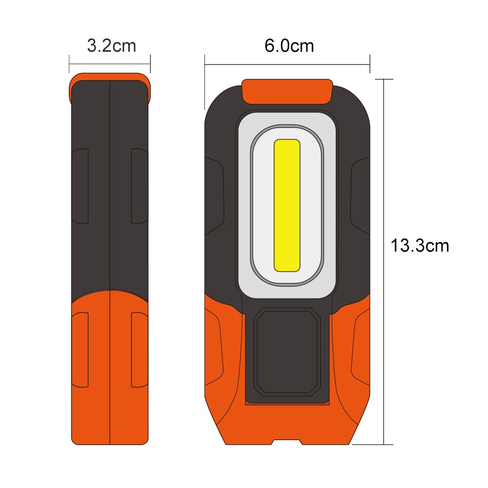 High Brightness 3W 200Lm Battery Not Included 1 Pack by Enuotek Battery Powered Portable COB LED Pocket Work Light Magnetic Foldable LED Inspection Lamp with Hook
