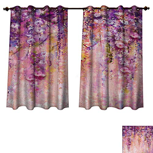 RuppertTextile Flower Blackout Thermal Curtain Panel Watercolor Painting Effect Wisteria Tree Blossoms Soft Scenic Spring Display Patterned Drape for Glass Door Pink Violet Purple W72 x L84 inch