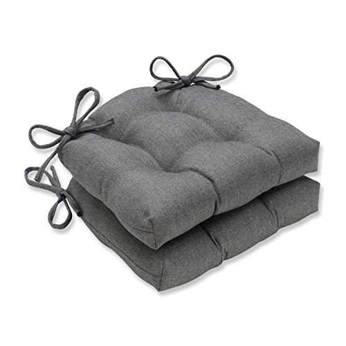 (Pillow Perfect Indoor Sonoma Pewter Reversible Chair Pad (Set of 2), Grey, 16 X 15.5 X 4)