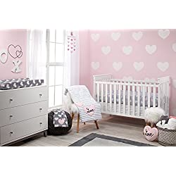 Little Love by NoJo 5 Piece Comforter Set, Hugs and Kisses Pink and Grey