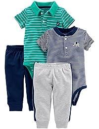 conjunto de enterito y pantalón para niño, 4 piezas