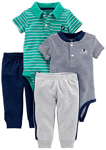 Simple Joys by Carter's Baby Boys' 4-Piece Bodysuit and Pant Set, Turquoise Polo/Navy Henley, 0-3 Months