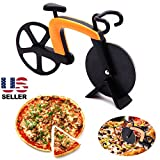 Bike Shaped Pizza Slicer Cutter Kitchen Outdoor Yellow Stainless Steel Blade