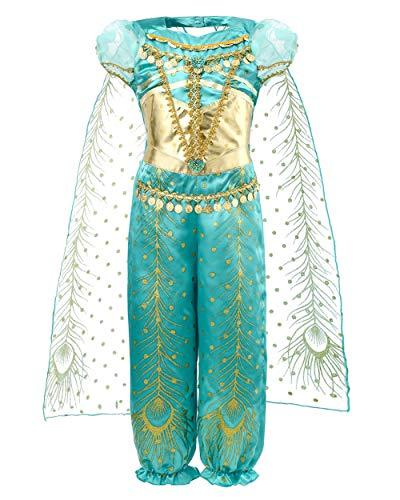 JiaDuo Girls Princess Jasmine Costume Party Halloween Dress Up 7-8 ()