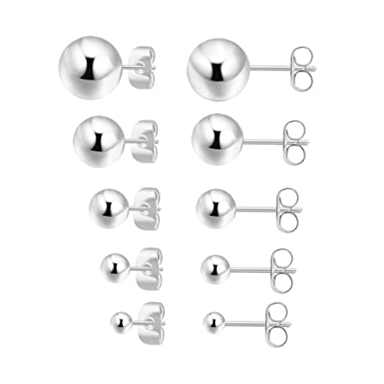 9b60e26bf Image Unavailable. Image not available for. Color: 5 Pairs Sterling Silver  Stud Earrings ...