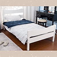 Merax Wood Platform Bed Frame Mattress Foundation with Headboard and Wooden Slat Support, Twin (White)