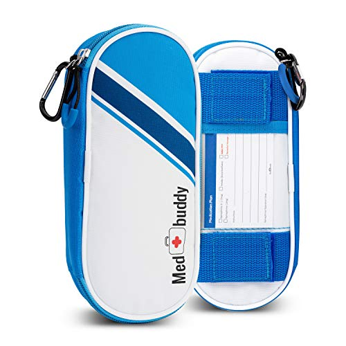 MedBuddy Portable Insulated Travel Case - Holds 2 EpiPens or Auvi-Q, Inhaler, Allergy/Asthma - Expandable and Compact for Emergency Access (Blue Stripe)