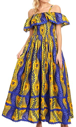 Sakkas WD-1673 - Afua Women's Long Maxi African Ankara Wax Print with Overlay and Pockets - 1147-Royalblue/lime - -