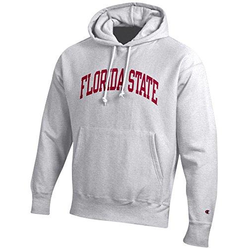 Champion NCAA Men's Reverse Weave Gray Arch Long Sleeve Hooded Sweatshirt, Silver/Grey, Large