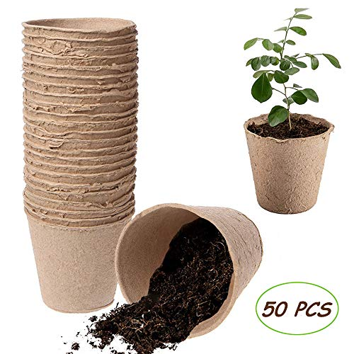 Kalolary Peat Pots, 50 PCS 3 Inch Plant Starters Biodegradable Peat Pots for Seedlings, Seedling Saplings & Herb Gardening Vegetable Tomato Seed Germination Organic Plant Starters