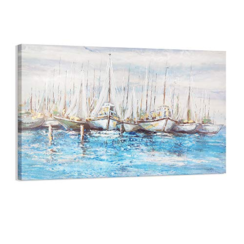 Kas Home Art The Landscape Sailing Nautical Abstract Wall Art Gold and Blue Sailboat Ocean Painting on Canvas Print Wall Picture Home Framed Living Room Wall Decor (36 x 24 Inch, A Framed)