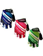 Kids Junior Cycling Gloves Outdoor Sport Road Mountain Bike Monkey Bars, Fit Boy Girl Youth Age 2-10, Gel Padding Bicycle Half Finger Pair