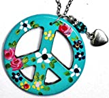 Large Peace Sign Necklace with Turquoise Nugget and Painted Flowers and Dangling Heart Charm